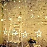Han Lucky Star 12 Sterns 138 LEDs Lichterkette märchenhafter Vorhanglichter mit 8 Steuerbare Modes für Party Weihnachten Hotel Festival