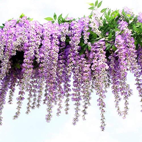 Künstliche Fake Wisteria Vine Ratta, Blauregen Seidenblumen,hängende Dekoration Garland Seide Blumen für Party Home Dekoration Hochzeiten, 110 cm, violett 12er
