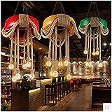 tsqqst neumáticos industriales Color viento, lámparas AU cáñamo, cafés, Restaurants, bars, lustres Retro, lustres para crear, diámetro 40cm) verde