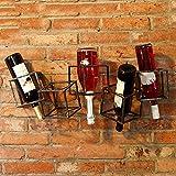 LIXIONG colgar en la pared botellero para Porta Botellas 5 hierro Hacer el viejo retro Estantes de exhibición