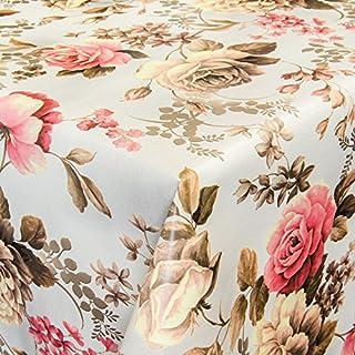 ANRO Wachstuch Wachstischdecke Tischdecke abwaschbar Blumen Hell 160 x 140cm