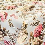 ANRO Wachstuch Wachstischdecke Tischdecke abwaschbar Blumen Hell 120 x 140cm