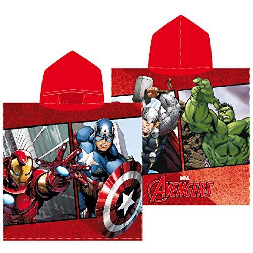Textil Tarragó Avengers Toalla con Capucha Algodón, Rojo 30x30x3 cm