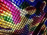 Jersey Meerjungfrau Fishschuppen Stoff –Spandex Lycra–2Wege Stretch Material–150cm breit–Regenbogenfarben (Meterware)