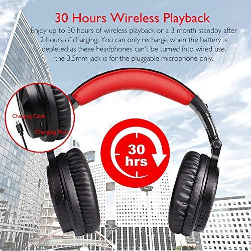 OneOdio Bluetooth Kopfhörer, Kabellos Over Ear Headset mit abnehmbare Mikrofon & Dual 50mm Treiber, 30 Stunden Spielzeit, DJ Kopfhörer (mit abnehmbare Mikrofon, Schwarz Rot) - 3