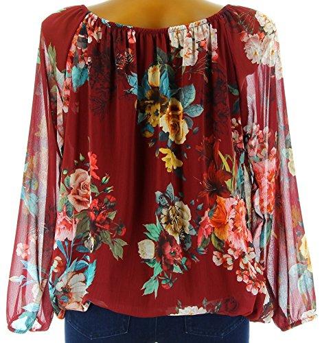 Charleselie94® - Blouse tunique bohème fleurs manches longues bordeaux CLARISSA ROUGE Rouge