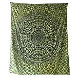 Tagesdecke Elefanten Paisley grün schwarz Baumwolle indische Decke Wandbehang Überwurf Tie Dye