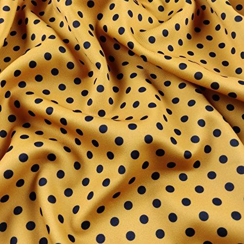 FS168_ 1Marineblau Polka Dots Print senf Base auf hochwertigem Jersey Dehnbar Scuba Stoff–(Meterware) (Print Dot Jersey)