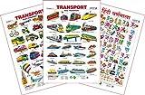 Set of 3 Educational Wall Charts (Transport 1, Transport 2 & Hindi Varnamala)