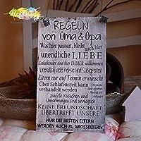 Shabby Style Holzschild - Regeln von Oma & Opa -