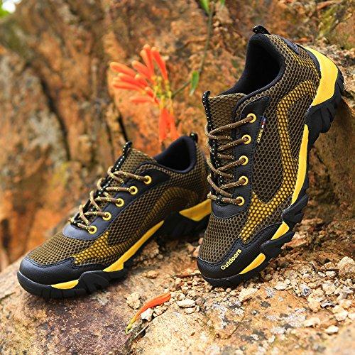 Gomnear Hommes Respirant Chaussures Été Chaussure Pour des hommes Poids léger Antidérapant Lacer Décontractée sport Fonctionnement Randonnée En marchant Marron