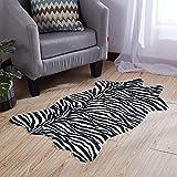 RX-21 Area Rug Faux Zebra-Druck Teppich Matte Künstlich Pelz Tierdruck Rutschfest Teppich,A,75x110cm(30x43inch)
