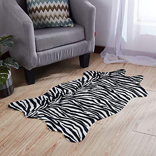 RX-21 Area Rug Faux Zebra-Druck Teppich Matte Künstlich Pelz Tierdruck Rutschfest Teppich,A,75x110cm(30x43inch) -