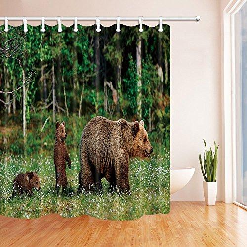 Tier Dusche Vorhänge für Badezimmer Wild Mutter Grizzly Bear spielen ihre Babys im Wald Dschungel Polyester Stoff wasserdicht Bad Vorhang Duschvorhang Haken enthalten 70.8X70.8in