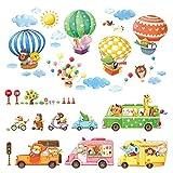 Decowall DA-1806P1406B Transporte Autos Tiere Bunter Heißluftballon Tiere Wandtattoo Wandsticker Wandaufkleber Wanddeko für Wohnzimmer Schlafzimmer Kinderzimmer