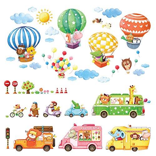 Decowall DA-1806P1406B Transportes de Animales Globo Aerostático Vinilo Pegatinas Decorativas Adhesiva Pared Dormitorio Salón Guardería Habitación Infantiles Niños Bebés