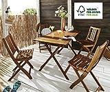 SAM® Gartengruppe 5tlg. Holstebro, 1 x Tisch + 4 x Stuhl, massives Akazienholz, klappbar, FSC 100% Zertifiziert