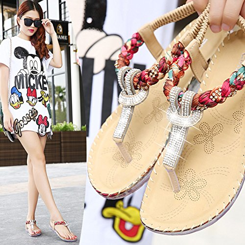 Pour Femme New Bohême Style romain style folk perle ronde Peep Toe Summer Beach Dunlop orteil Post Sandales Tongs Plat Antidérapant Chaussons String abricot