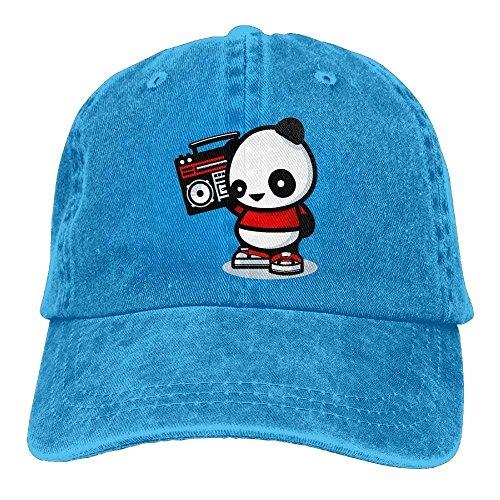 PhqonGoodThing Casual Unisex Panda Listening to The Radio Cowboy Hip-Hop Baseball Caps Snapbacks Fishing Hats Radio-cap-baseball-cap