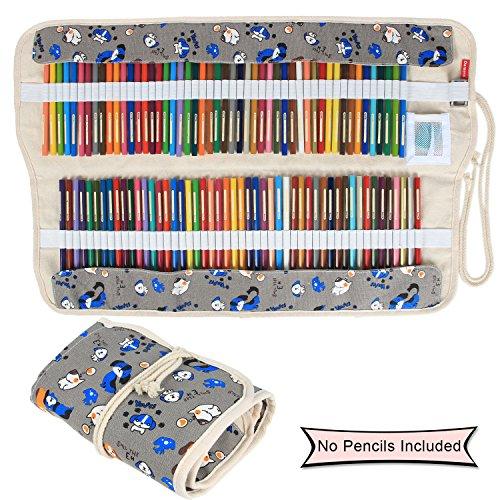 Tasche Cartoon (Damero Faltbare Stifterolle für 72 Buntstifte und Bleistifte, aus Canvas, Roll-up Mäppchen für Künstler, Verpackung Mehrzwecktasche für Reisen / Schule / Büro / Kunst (keine Schreibzeuge im Lieferumfang), Cartoon Dogs (keine Schreibzeuge im Lieferumfang))