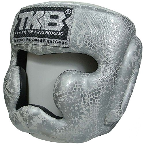 TOP KING Kopfschutz, Empower, weiß-silber, Head Guard, Protector, Leather, MMA