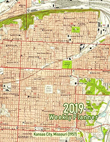 2019 Weekly Planner: Kansas City, Missouri (1957): Vintage Topo Map Cover -
