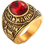 Oidea Anello Uomo Marines Fidanzamento Promessa Acciaio inossidabile Strass Rosso Oro,Misura da scelta