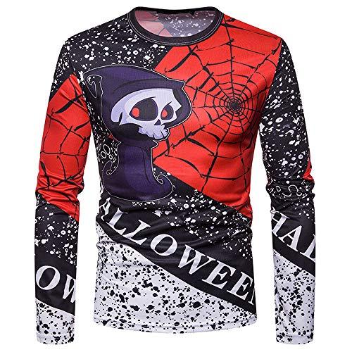 ZIYOU Halloween Sweatshirt Herren Kürbis Drucken Kostüm Langarmshirt -