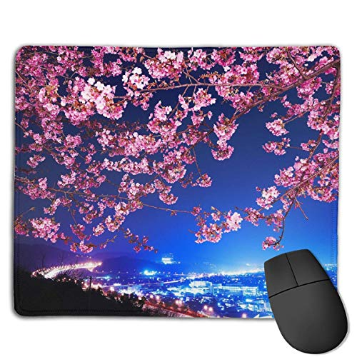 Mouse Pad Cherry Blossoms Art Illustration Rectangle Rubber Mousepad 8.66 X 7.09 Inch Gaming Mouse Pad with Black Lock Edge
