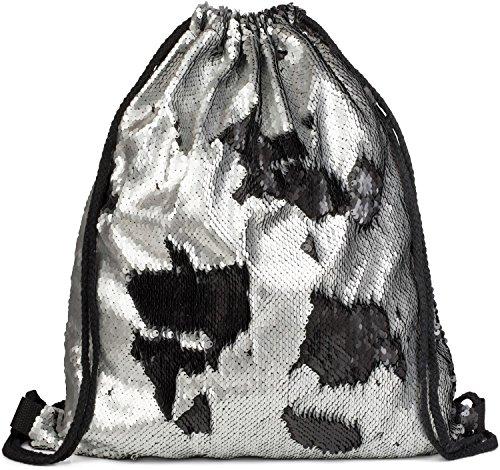 styleBREAKER borsa sportiva hipster con paillettes, zaino, borsa sportiva, bauletto, unisex 02012210, colore:Argento/ Nero Argento/ Nero