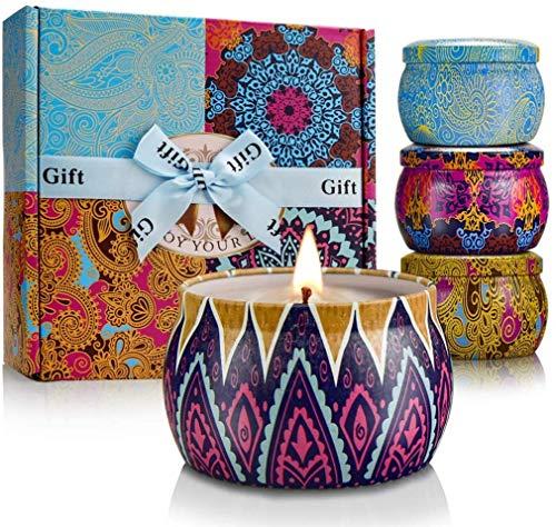 CREASHINE Conjuntos De Regalo con Velas Perfumadas, Regalos para Mujeres, limón, Lavanda, Higo mediterráneo y Sabor primaveral refrescan el Aire y relajan su Cuerpo