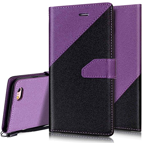 Custodia iPhone 6S 4.7 Cover iPhone 6 4.7,Ukayfe Stitching Colore Flip Case Cover per iPhone 6S 4.7,iPhone 6/6S Lussuosa Astuccio Custodia Cover [PU Leather] [Shock-Absorption] Protettiva Portafoglio Nero + Viola