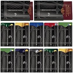 12 Stück RFID & NFC Blocking Schutzhülle Portemonnaie - Kreditkartenhülle - 100% Schutz für Kreditkarten, Pass, Debitkarten, ID, EC Karte, Schlüsselkarten - Identitätsdiebstahl Schutz - Designer-Set