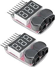 Virhuck 2pcs 1S-8S Lipo Warner Fernsteuerungshubschrauber Multicopter Ersatzteile Lipho Life LiMn Li-Ionbatterie-Monitor-Warnungs-Niedrige Spannung Summer-Warnungs-Anzeige Lipo Checker - Schwarz