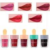 Juego de brillo líquido, 5 piezas de brillo de labios en forma de helado, brillo de labios de color, lápices de labios hidrat