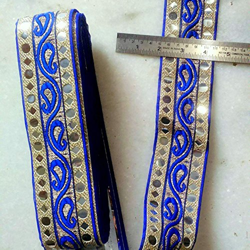 MR Fashion hawy maharani Blue Lace & mirror lace for dress/sarees/blouses,suits,caps/bags/decorations/ borders,...