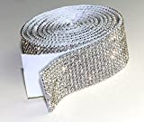 Crystal Mesh Strassband SS6 Borte Selbstklebend Breite wählbar, 1,15m SS06 lang Chaton Strasssteine 12reihig / 28mm x 1150mm