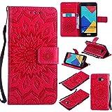 KKEIKO Galaxy S4 Mini Hülle, Galaxy S4 Mini Leder Handyhülle Schutzhülle [ mit Gratis Panzerglas Schutzfolie ], Blumen Muster Stoßsichere Lederhülle Brieftasche Case für Samsung Galaxy S4 Mini - Rot