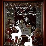 MAYOGO Weihnachten Wandaufkleber Spiegel Weiß Rentier Schneeflocke Buchstaben Wand Stickers Fenster Glas Vitrine Elegant Applique