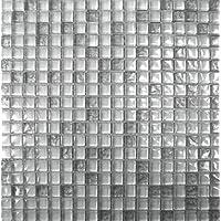 Glasmosaik mit Metalleffekt 1,5x1,5x0,8 cm weiß/silber, Kristallglas