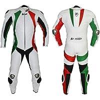 BIESSE - Tuta da MOTO intera in vera pelle bovina, ideale per uso professionale in pista. Modello Tricolore (Verde…