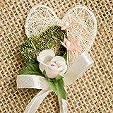 Hochzeitsanstecker 'Doppelherz', champagn-rosa - 5er-Set - Gästeanstecker mit Doppelherz und Rose