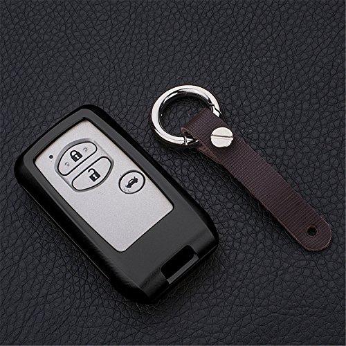 [m. jvisun] Schlüsselanhänger Toyota Schlüsselanhänger Schlüssel, Fernbedienung, passt für Toyota Crown Toyota Land Cruiser Smart Keyless-Start Stop Motor Auto-Schlüssel, Flugzeug Aluminium Spiegel Rückseite Schlüsselanhänger Schutz Hülle, schwarz
