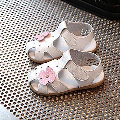 Mode Floral Dekoration Mädchen Sandalen Leder Oberen Magic Tape Sommer Schuhe Atmungsaktive Hohl Löcher Flache Babyschuhe - Weiß 21