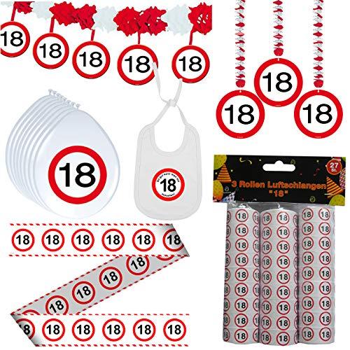 41 tlg. Set Partyset zum Achtzehnten 18. Geburtstag Dekopaket Partypaket Dekoration (Achtzehnten Geburtstag Dekorationen)