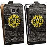 Samsung Galaxy S7 Edge Tasche Hülle Flip Case Borussia Dortmund BVB Holzoptik