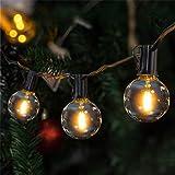 LED Catena Luminosa Esterno,VIFLYKOO 36 FT Catena Luci Stringa con 25 lampadine 3 di Ricambio G40 Bianco Caldo Impermeabile D