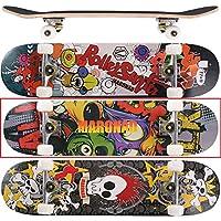 MARONAD Skateboard ABEC-7 Kugellager 80A PU Räder 9-lagigem Ahornholz 31x8 Inch (79x20cm)