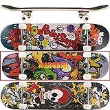 MARONAD Skateboard ABEC-7 Kugellager 80A PU Räder 9-lagigem Ahornholz 31x8 Inch (79x20cm) - CARTOON