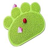 Elegantstunning Forro Matte perro gato Forma de huellas-Cuenco (Forro PVC Felpudo para mascotas verde
